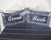 Wedding Chair Signs, Bride and Groom Signs, Mr and Mrs Signs, Reception Signs, Wedding Decor, Shabby Chic Wedding, Black and White Wedding