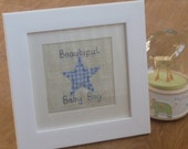 Personalized New Baby Boy Gift. Nursery Decoration. Baby Naming. Baptism. Mounted in a White frame. Hand sewn. Blue Gingham and stitching