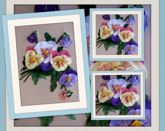 Ribbon Embroidery Wall Art - Pansies  - NOT FRAMED, Handmade Embroidery, Embroidery Home Decor