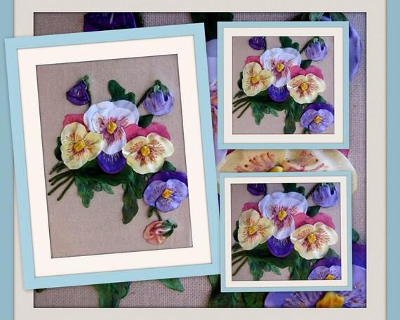 Items similar to ribbon embroidery wall art pansies