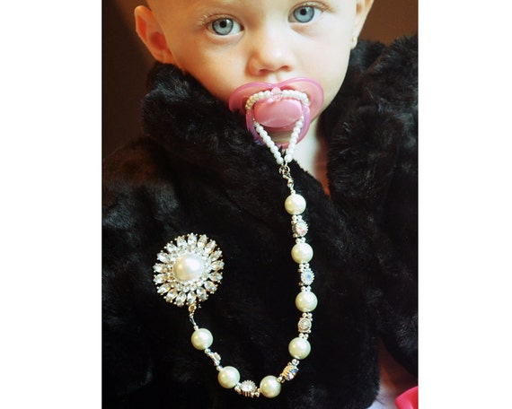 Gorgeous Pacifier Clip 5in1 Convertible Beaded Pearl Necklace Handmade Personalized
