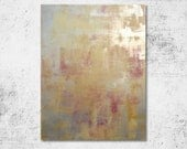 S A L E  Abstract 1124 Large Minimal Original Modern Fine Art, Abstract Acrylic Knife Painting, Mustard Yellow, Cranberry, and Light Gold