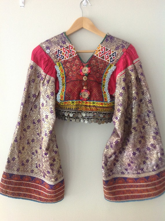 Vintage Avant Garde Ethnic Tribal Kuchi Jacket Top w Huge Angel Kimono Sleeves