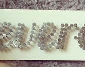 three character custom wood // nail name sign
