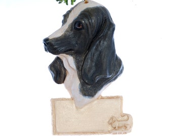 Black and White Basset Hound Christmas Ornament - personalized ornament - basset hound Christmas ornament (d49)