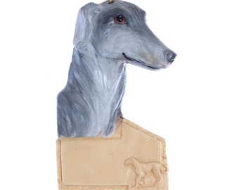 Greyhound ornament - blue greyhound personalized Christmas ornament with your dogs name  (d11