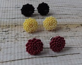 Mum Bloomers - YOUR CHOICE Color Ivory, Black or Burgundy Small Chrysanthemum Stud Earrings on Nickel Free Titanium Posts