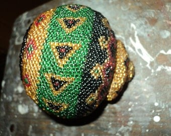 Vintage Hand Made, Hand Beaded Basket With intricate tribal design motif design in Red, Green, Yellow and Black Colored Glass Seed Beads