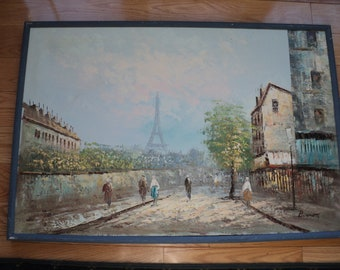 Original Oil Painting of A Paris Boulevard Street Scene  with the Eiffel Tower in the background in Vintage Condition