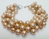 Champagne Pearl Bracelet, Bridal Jewelry, Chunky Bracelet, Wedding Bracelet, Pearl Bracelet, Bridal Pearl Bracelet, Chunky Pearl Bracelet,
