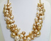 Ivory and Champagne Pearl Necklace, Chunky Necklace, Ivory and Gold Jewelry, Bridal Jewelry, Wedding Necklace, Ivory Bridesmaid Necklace