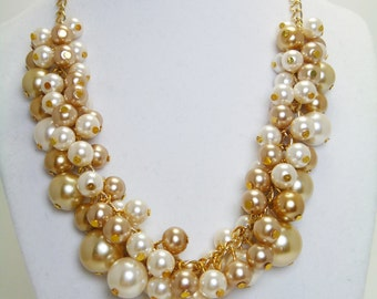 Ivory and Champagne Pearl Necklace, Chunky Necklace, Ivory and Gold Jewelry, Bridal Jewelry, Ivory and Gold Pearl Necklace, FREE SHIPPING
