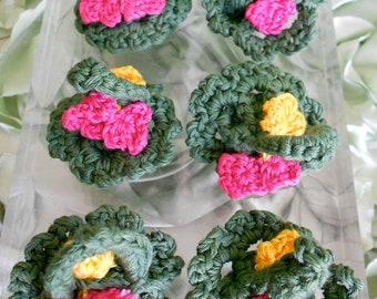Handmade Crocheted Flower Baskets