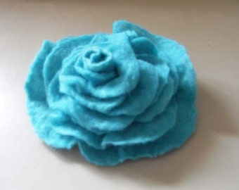 Felted Flower Brooch Flower pin Wool Aqua Rose bridesmaids gift for her under 25 free gift wrap