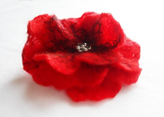 Felt Poppy Flower Brooch Poppies Corsage