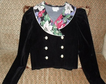 Top Blouse Blazer Girls Size 10 Jacket Black Velvet Double Breasted Washable SALE