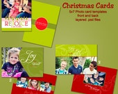0093-5 5x7 Christmas Holiday Photoshop PSD Photo Card Template for Photographers - Celebrate Christ  - Millers, Whcc or Mpix