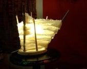 Natural Off White Ivory Plain Shredded Cotton Lamp