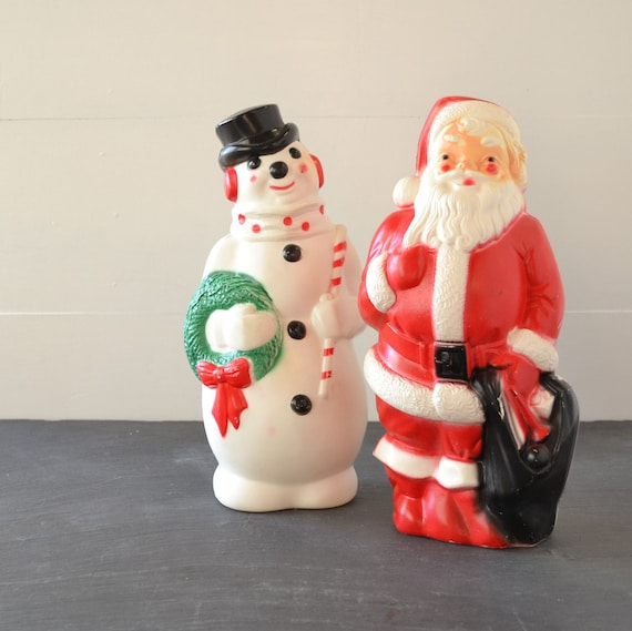Vintage Blow Mold Christmas Carolers Christmas Lawn Decor: Vintage Christmas Blow Mold Snowman Santa Claus Set Of 2