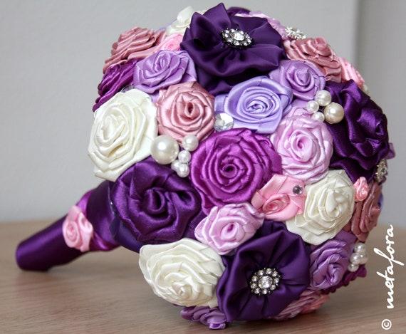 Purple Fabric Wedding Bouquet, Unique Fabric Flower Bridal Bouquet