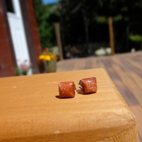 Goldstone Stud Earrings.  Tiny Square Studs.