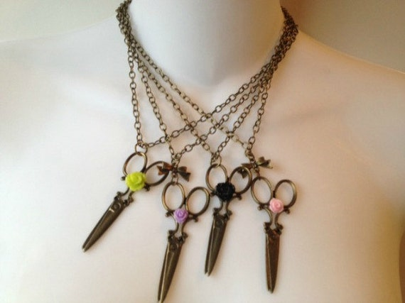 Scissor Happy Necklace Scissors  with a Green Rose Option to add a Bow