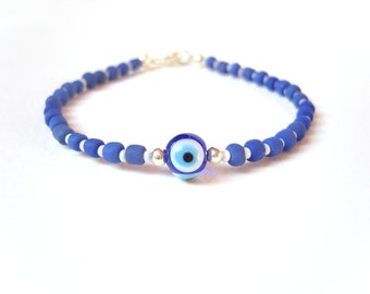 Turkish Eye Bracelet, Blue Beaded Friendship Bracelet, Evil Eye Jewelry, Under 15