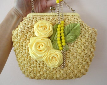 Summer Pocketbook, Yellow Shoulder Bag, Rose Decorated Purse,  Small Yellow Purse, Mori Girl Handbag, Flower Decorated Purse, Boho Purse