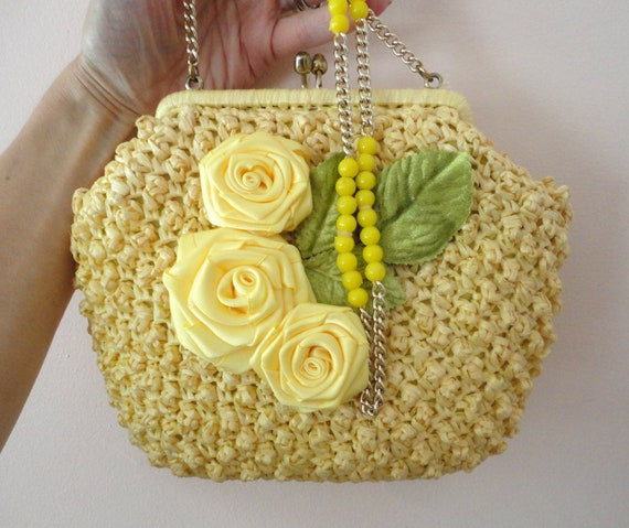 Summer Pocketbook, Yellow Shoulder Bag, Rose Decorated Purse,  Small Yellow Purse, Mori Girl Handbag, Flower Decorated Purse, Boho Purse