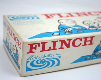 Vintage Flinch card game, Parker Brothers, numbers, family game night, rainy day fun, numerical card game, craft supply, counting game