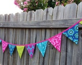 9' Summer, Spring, Birthday Party Bunting Banner, Photo Prop,Girl Decor, Bunting Flags Colorful Pink, Turquoise, Blue, Green, Aqua