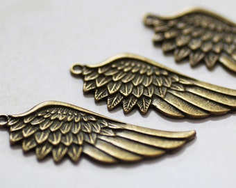 Bronze Wing Pendants - Antique Bronze - 58x22mm - 3pcs - Ships IMMEDIATELY  from California - BC88