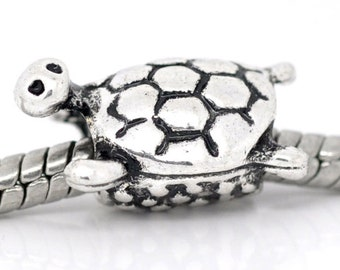 SALE Turtle Beads - Silver - 16x11mm - 5pcs - Ships IMMEDIATELY from California - B132