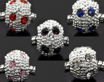 5 Rhinestone Beads - Silver - Assorted - 10mm - Ships IMMEDIATELY from California - B172