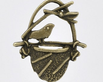 Bronze Bird Charms in Nest - 23x20mm - 10pcs - Ships IMMEDIATELY  from California - BC 372