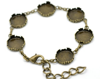"Bronze Cabochon Bracelet (Holds 14mm) -7 1/8"" - Ships IMMEDIATELY from California - CH158"