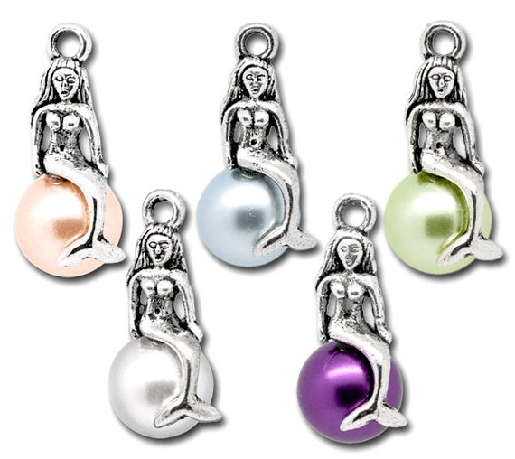 Silver Mermaid & Pearl Imitation Charm Pendant  Assorted 22x11mm 5pcs- Ships Immediately from California - SC253