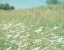 Nature Photography 8x10, Dreamy Landscape Photograph, Flower Field Photo, Pastel Green Blue and White Wall Art, 16x20 Shabby Chic Home Decor