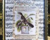 "Vintage Bird Print Spring Home Decor Song Bird Original Collage Print Framed 8 3/4"" x 10 3/4"",Bird Print, Mocking Bird"