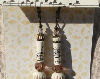Vintage Sheet Music Earrings, Music Theme Earrings, Music Jewelry, Beaded Dangle Earrings