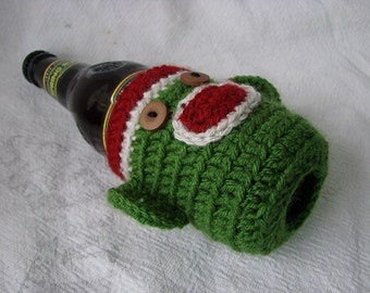 READY TO SHIP Christmas theme Sock Monkey Beer Soda Bottle Cozy Green Red