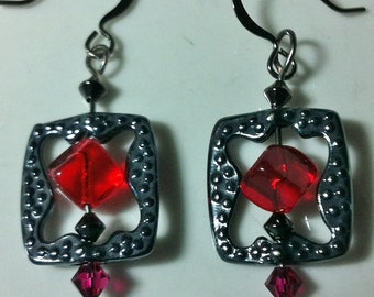 Pewter findings in black with red glass and Swarovski crystals