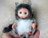 Grey Baby Wolf  OOAK cute baby doll, decoration for home, collectables, made to order