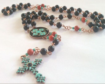 Ethnic Copper and Teal Rosary