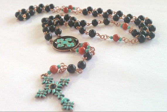 Fiesta-Ware-ish Copper and Teal Rosary