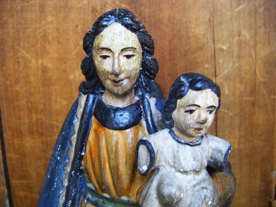 Vintage Our Lady with Child SANTOS, Antique Hand Carved,  Saint Mary Statue