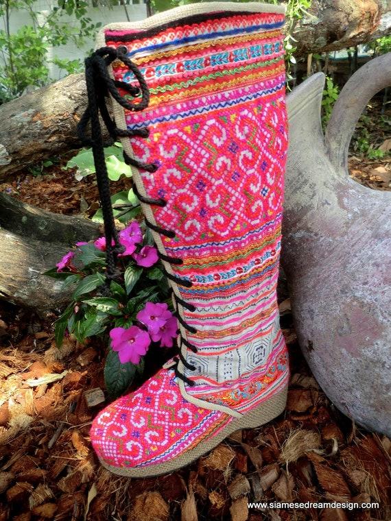 Colorful Pink Vegan Anja Boot, Hmong Embroidery & Batik Lace Up Knee High Wedge Heel Size 11