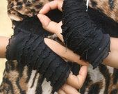 black mini ruffle cuffles