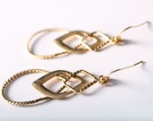 Tribal Gold Earrings Ornate Metal