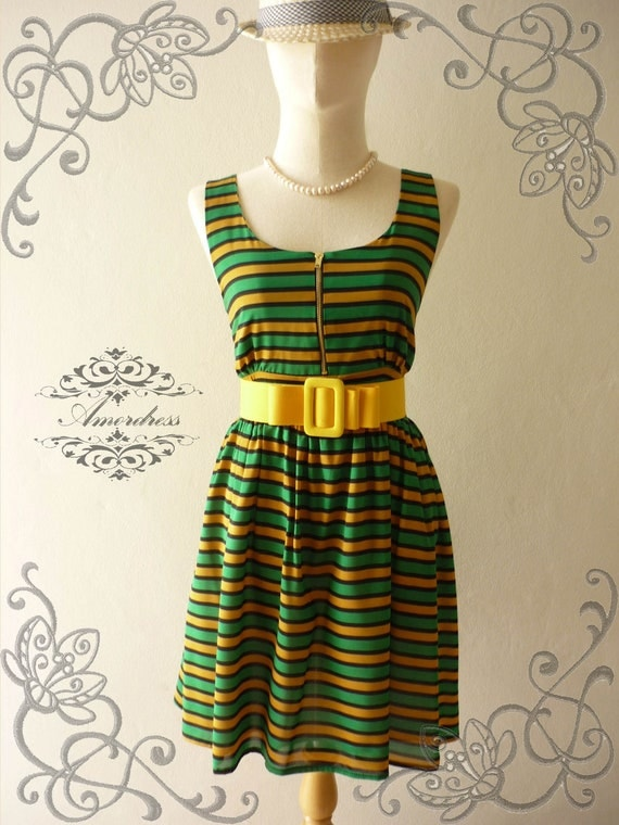 Amor Vintage Inspired Green Yellow Stripe Party Dress Vintage Chic Chiffon  Party Mini Dress -Fit XS-S-